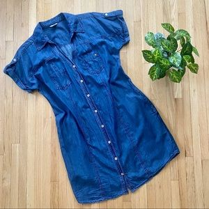 Guess Chambray Button Up Dress with Pockets Size L